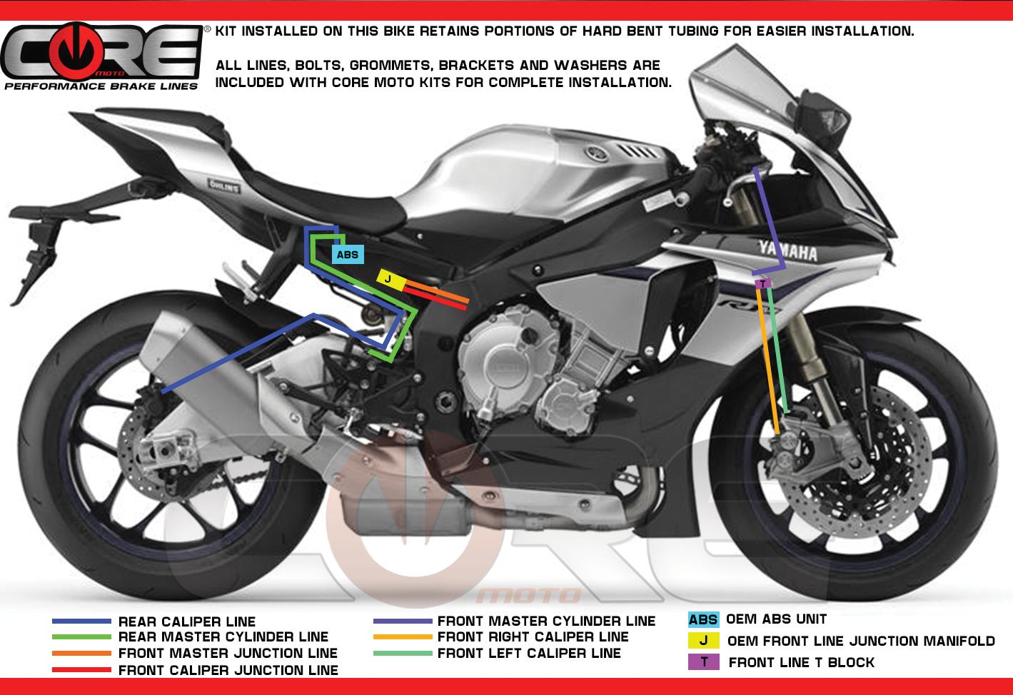 Clear YZF R1//R1M 6 line kit ABS 2015+ Galfer Front Brake Lines /& Rear Line Kit