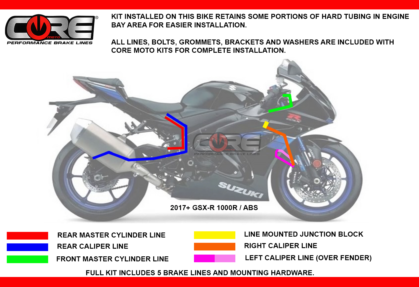 Core Moto Street Gsx R 1000r Abs 2017 2019 Suzuki Gsxr1000r Ducati Gt 750 Wiring Diagram Line Includes 2 Regular Grommets For Use In Oem Mounts On Swingarm As Well Several Small That Fit Speed Sensor Wire Clips A Clean