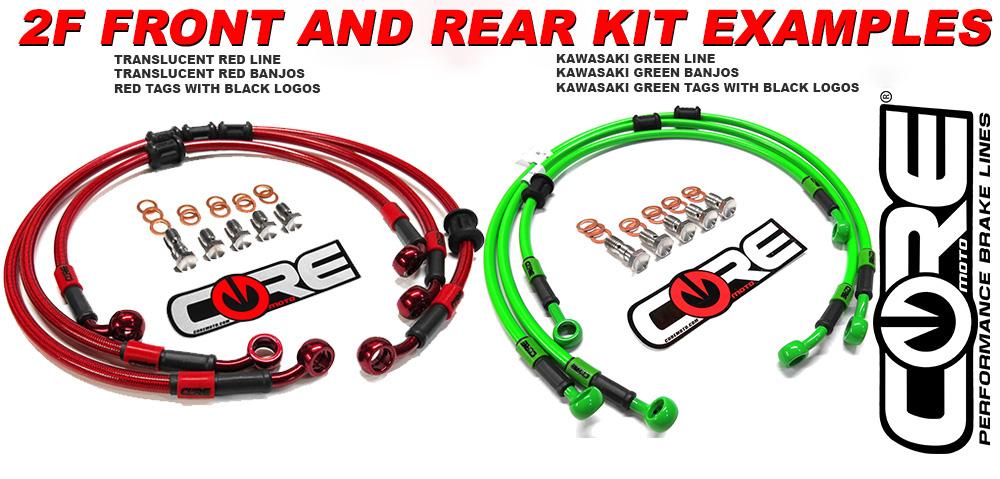 Kawasaki Green Hose /& Stainless Banjos Pro Braking PBR0506-KAW-SIL Rear Braided Brake Line