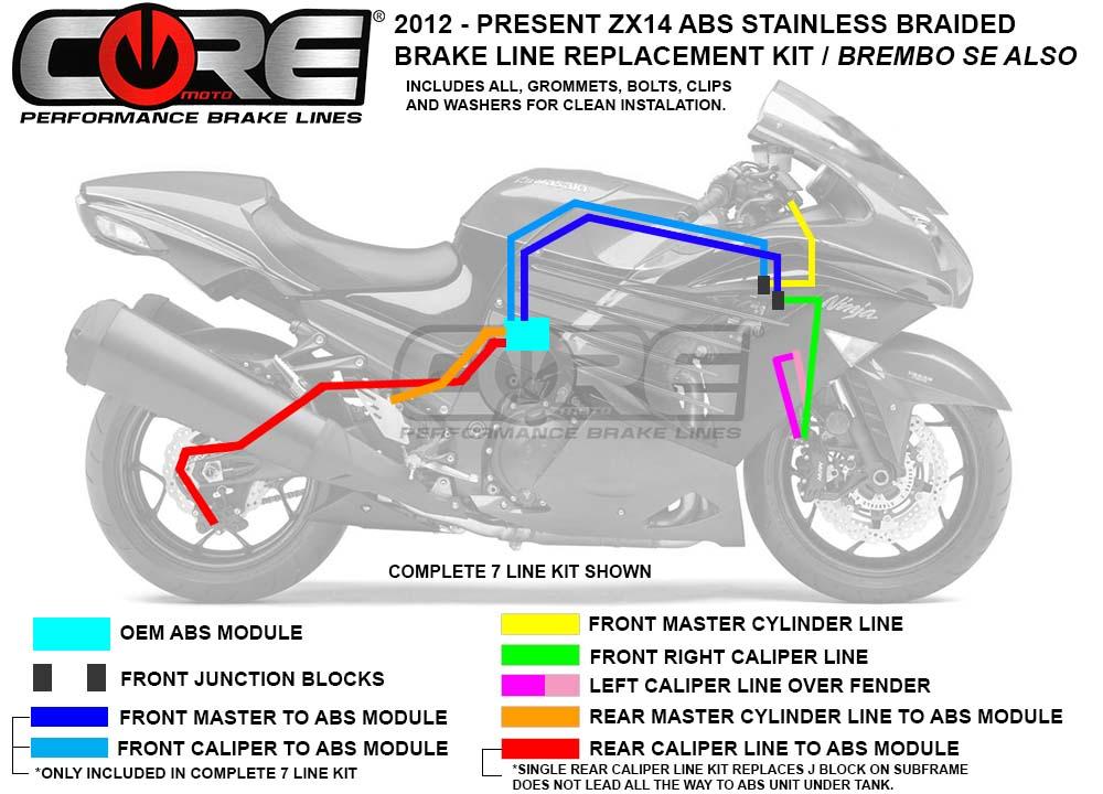 Kawasaki Green Hose /& Stainless Red Banjos Pro Braking PBR4448-KAW-RED Rear Braided Brake Line